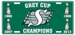 Saskatchewan Roughriders 2013 Champs 4 Cups Tin License Plate