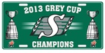 Saskatchewan Roughriders 2013 Champs Tin License Plate